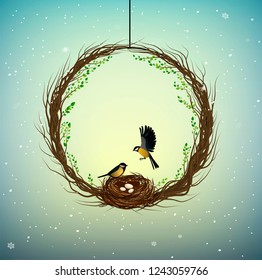 family home idea, wreath of thebranches  with nest and two birds inside, sweet home, spring inside idea, nature decoration, vector