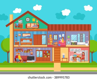 Family home interior flat design concept with  furniture parents and children rooms kitchen and bathroom in cartoon style vector illustration