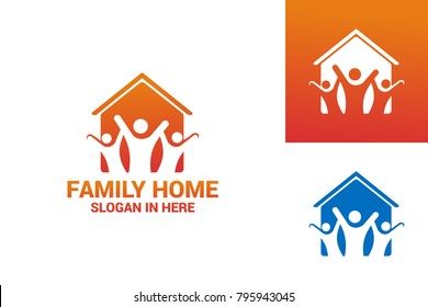 Family Home Logo Template Design Vector, Emblem, Design Concept, Creative Symbol, Icon