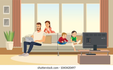 Family at home. Mother care about father, while children playing game console on tv. Fun cartoon characters. Vector illuctration of parents and children at living room modern interior.