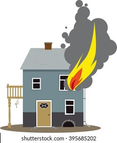 Family home on fire, flames coming out of a window, EPS 8 vector illustration