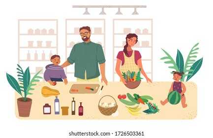 Family at home preparing food in the kitchen vector illustration in flat style. Mom, dad and kids in the kitchen are preparing to eat and have fun. Isolation and homemade healthy food.