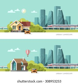 Family home. Traditional and modern house. Cityscape background. Urban landscape. Downtown with skyscrapers and railway. Vector flat illustration.