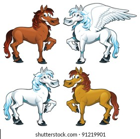 Family of horses + 1 Pegasus. Funny cartoon and vector isolated animal characters.