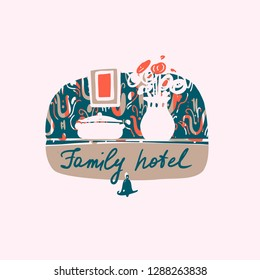 Family hotel logo.Template image for resort. Concept design company identity, banner, flyer for small guest house hostel business. Freehand drawn silhouette vase with flower. Vector illustration.