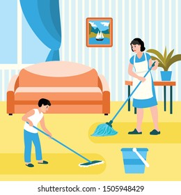 Family house cleaning concept banner. Flat illustration of family house cleaning vector concept banner for web design