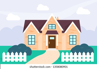 Family house in countryside flat illustration. British cottage, private property. Cozy townhome, villa in suburbs. White fence, green lawn, bushes in yard. Daytime village landscape