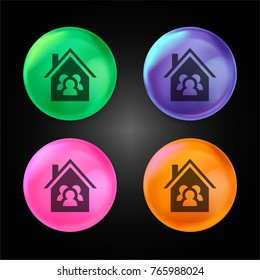Family House crystal ball design icon in green - blue - pink and orange.
