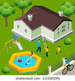 Family house exterior isometric view with backyard trees swimming pool playground and children playing ball vector illustration