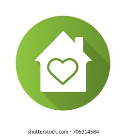 Family house flat design long shadow glyph icon. House with heart shape inside. Vector silhouette illustration