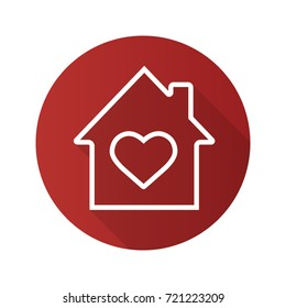 Family house flat linear long shadow icon. House with heart inside. Vector outline symbol
