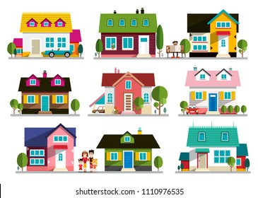 Family House Icon. Home Symbol. Buildings Set Isolated on White Background.