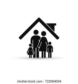 Family at house icon. Vector isolated illustration.
