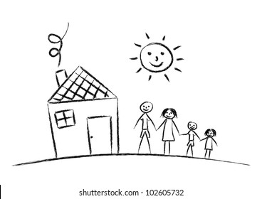 family-house-on-white-background-260nw-102605732 Architectural Blueprint House Plant Vectors Top View on