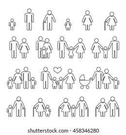 Family human thin line outline vector icons. Set of families in linear style, illustration family together mother father with baby