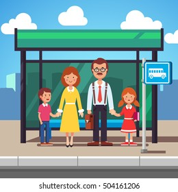 Family husband and wife with kids boy and girl waiting for transit on a city bus stop. Colorful flat style cartoon vector illustration.