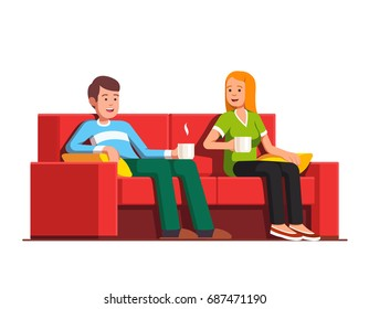 Family husband & wife relaxing together. People man and woman siting on sofa drinking tea or coffee. Home living room with couch. Flat style vector illustration isolated on white background.