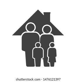 Family icon. Father, mother, son and daughter under the roof of the house. Vector on a white background.