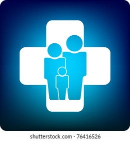Family icon inside a health care cross