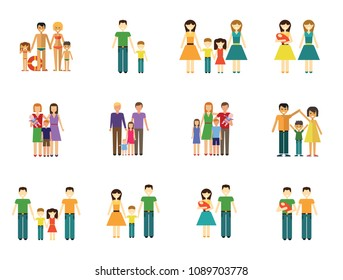 Family Icon Set. Family With Baby Man and Woman With Children Woman and Man With Child Happy Family Gay Couple Gay Couple With Baby Non-traditional Family Father And Son Mother