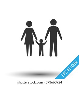 Family icon. Simple flat logo of family door on white background. Vector illustration.