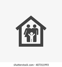 Family Icon in trendy flat style isolated on grey background. Family at house symbol for your web site design, logo, app, UI. Vector illustration, EPS10.