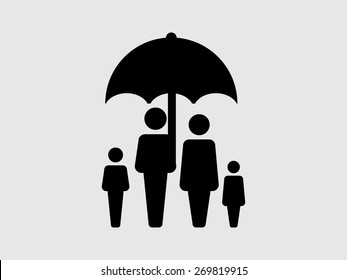 Family Icon Vector Flat Color People Sign in umbrella for insurance in Glyph Pictogram Symbol illustration