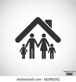 Family icon - vector  illustration