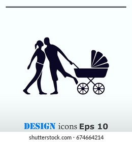 Family icon, vector illustration. Flat design style