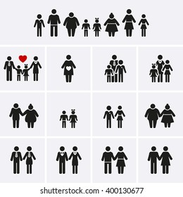 Family Icons. Man, Woman, Kid, Elder. People Character. Vector set