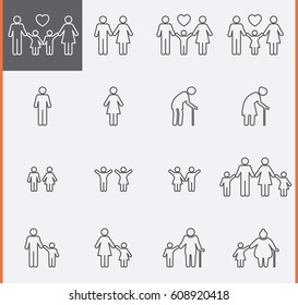 Family Icons. Man and Women Thin Pictogram Icons. Vector set
