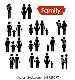 family icons over white background vector illustration