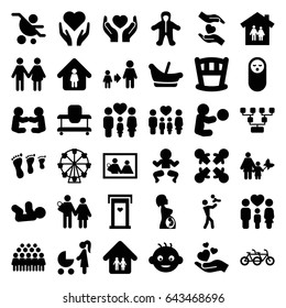 Family icons set. set of 36 family filled icons such as door with heart, baby, man in home, son and father, group, hands holding heart, pregnant woman, roundelay