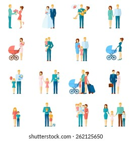 Family icons set with married couple people relationship symbols isolated vector illustration