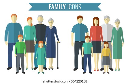 Family icons set. Traditional Culture. Vector