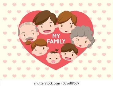Family illustration _ heart in my family