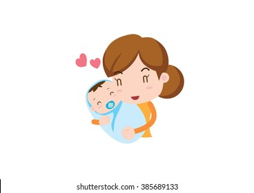 Family illustration _ mom and lovey baby