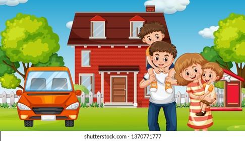 Family infront of home illustration