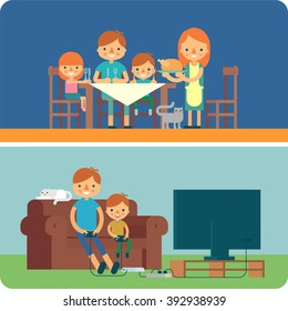 Family inside home illustration