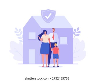 Family insurance. Concept of life insurance, protection of health and life of children with document of insurance for travel or vacation. Healthcare and medical service. Vector illustration in flat