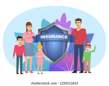Family insurance, safety, security concept. Man, woman and three children stand near big shield. Poster for social media, web page, banner, presentation. Flat design vector illustration