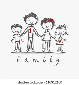 family isolated over gray background. vector illustration