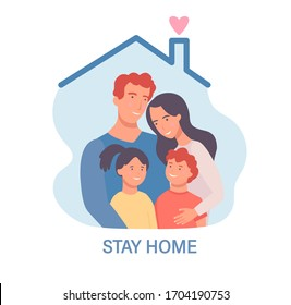 Family in isolation.Stay home template for banner, poster, flyer.Awareness social media campaign and coronavirus prevention. Quarantine during pandemia. Health care concept. Vector illustration.