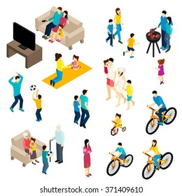 Family isometric set with free time and activities symbols isolated vector illustration