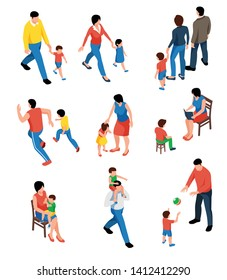 Family isometric set with parents playing and walking with their kids isolated vector illustration