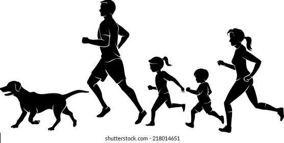 Family Jogging Exercise