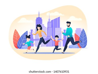 Family Jogging Exercise Together on City Street Cartoon. Active Lifestyle and World Health Day. Parents with Children Doing Fitness, Running and Training. Flat Vector Motivational Illustration