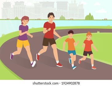 Family jogging in the park. A happy family leads an active lifestyle. Outdoor activity vector illustration