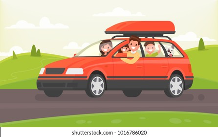 Family journey by car to nature. Vector illustration in a flat style