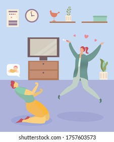 Family joyfully pregnancy new, wife jump hold pregnancy test positive emotion, husband kneeling flat vector illustration. Concept interior cozy room, people lovely reproduce dream child.